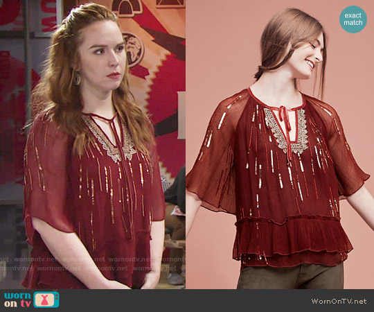 Anthropologie Canalis Keyhole Blouse worn by Camryn Grimes on The Young & the Restless
