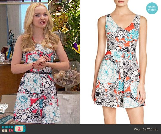 Aqua Floral Piqué Inverted Pleat Dress worn by Dove Cameron on Liv & Maddie