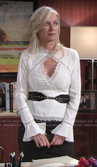 Ashley's white lace trim top with cutout on The Young and the Restless