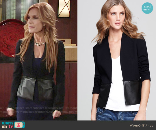 Bailey 44  Faux Leather Peplum Jacket worn by Tracey Bregman on The Young & the Restless