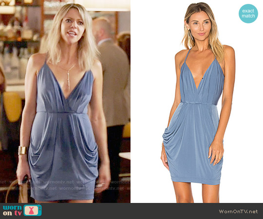 Bcbgeneration Faux Wrap Dress in Steel Blue worn by Kaitlin Olson on The Mick