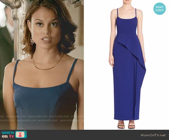 Bcbgmaxazria Asymmetrical Ruffle Gown worn by Nathalie Kelley on The Vampire Diaries