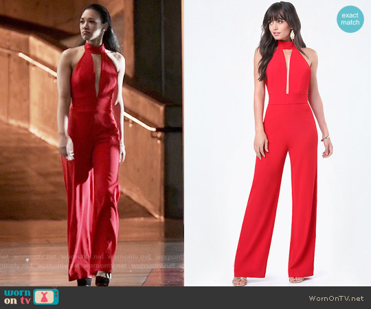 Bebe Deep Plunge Halter Jumpsuit worn by Candice Patton on The Flash