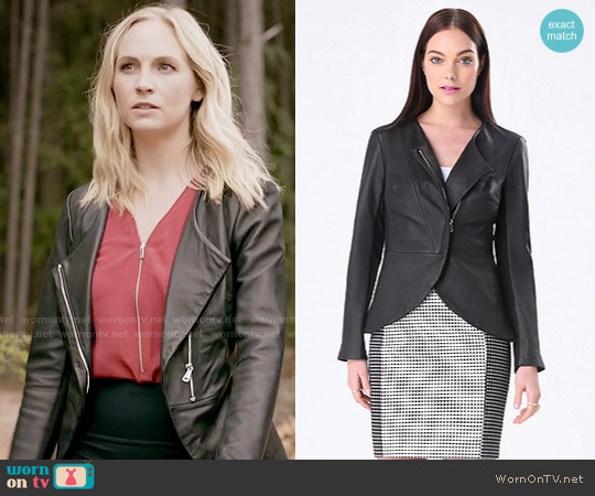 Bebe Regina Leather Jacket worn by Caroline Forbes on The Vampire Diaries