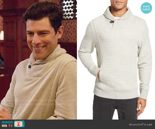 Billy Reid Trevor Shawl Collar Pullover worn by Schmidt (Max Greenfield) on New Girl