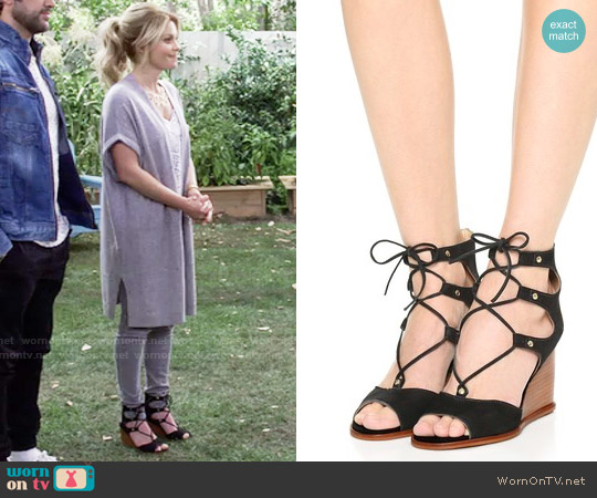 Blank Canvas Lace Up Wedge Sandals worn by DJ Tanner-Fuller on Fuller House