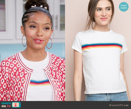 Brandy Melville Ali Rainbow Tee worn by Yara Shahidi on Blackish