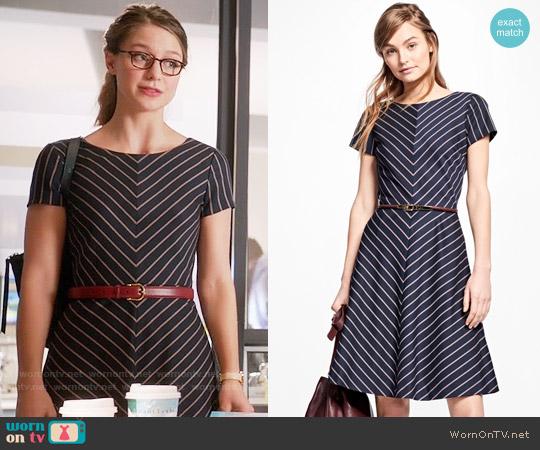 Brooks Brothers Short Sleeve Stripe Dress worn by Kara Danvers (Melissa Benoist) on Supergirl