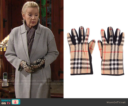 Burberry Checked Gloves worn by Nikki Reed Newman on The Young & the Restless