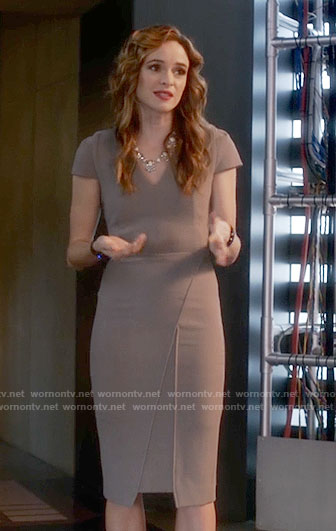 Caitlin's grey v-neck capped sleeve dress on The Flash