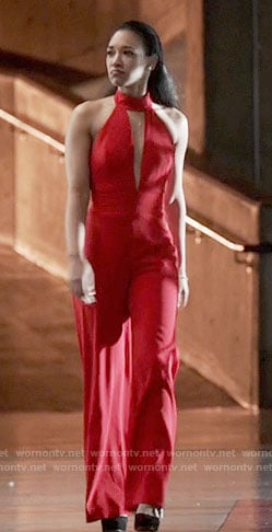 Iris's red cutout jumpsuit on The Flash