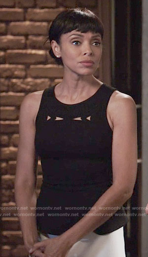 Camille's black top with cutouts on Bones