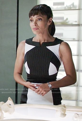 Camille's black and white colorblock dress on Bones