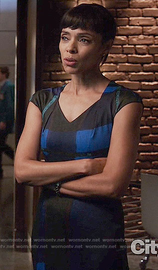 Camille's blue and black check print dress on Bones
