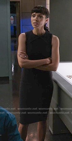 Camille's black sleeveless dress on Bones