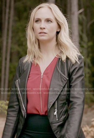 Caroline's red zip-front top and leather jacket on The Vampire Diaries