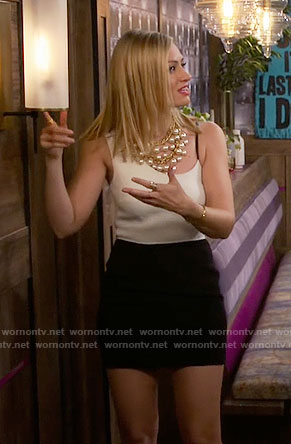 Caroline's black and white dress with asymmetrical straps on 2 Broke Girls
