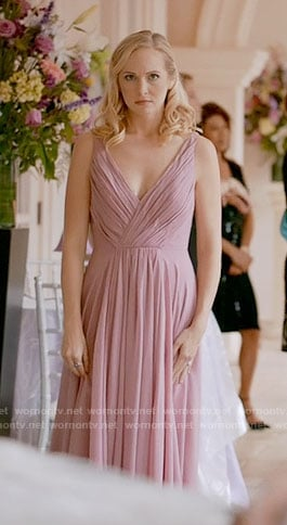 Caroline's pink high-low gown on The Vampire Diaries