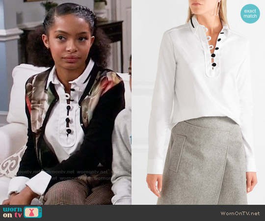 Carven Cotton Twill Shirt worn by Zoey Johnson (Yara Shahidi) on Blackish