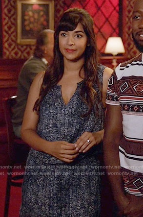 Cece's blue textured print dress on New Girl