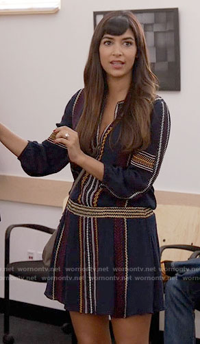 Cece's blue embroidered drop-waist dress on New Girl