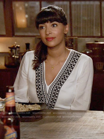 Cece's white v-neck embroidered dress on New Girl