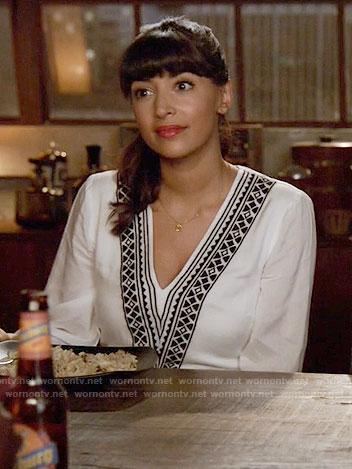 Cece's white v-neck embroidered dress on New Girl
