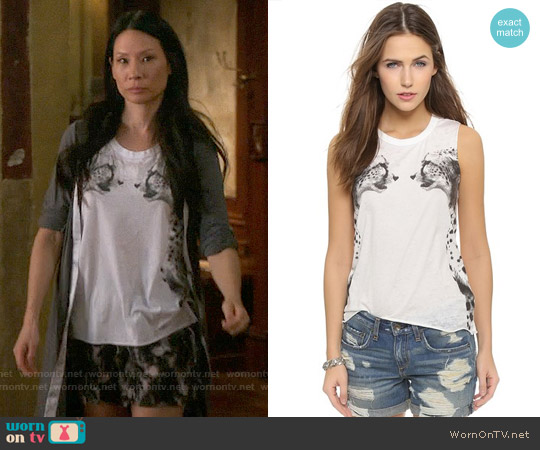 Chaser Cheetahs Tank Top worn by Joan Watson (Lucy Liu) on Elementary