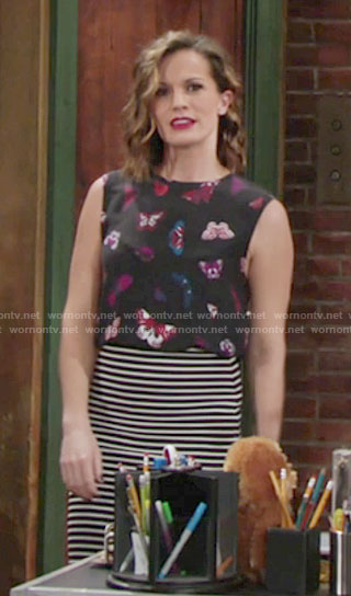 Chelsea's black butterfly print top on The Young and the Restless