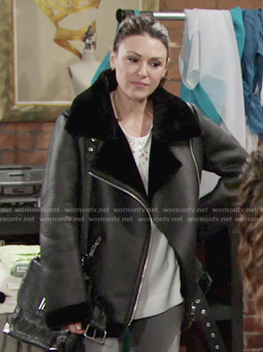 Chloe's black oversized moto jacket with fur collar on The Young and the Restless