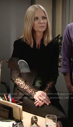Christine's black lace panel jacket on The Young and the Restless