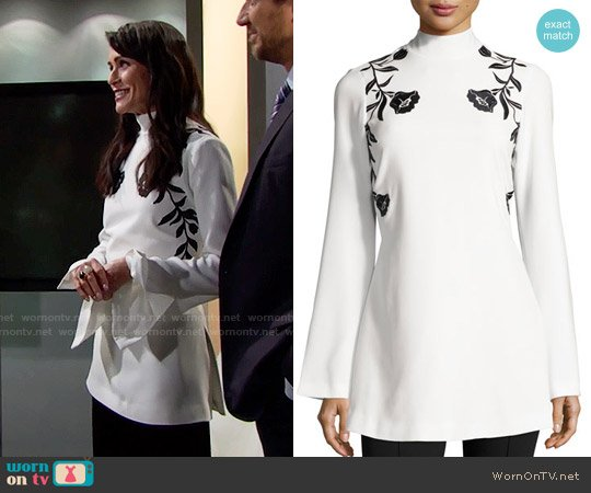 Cinq a Sept Rosabell Floral Open-Back Tunic worn by Quinn Fuller (Rena Sofer) on The Bold & the Beautiful