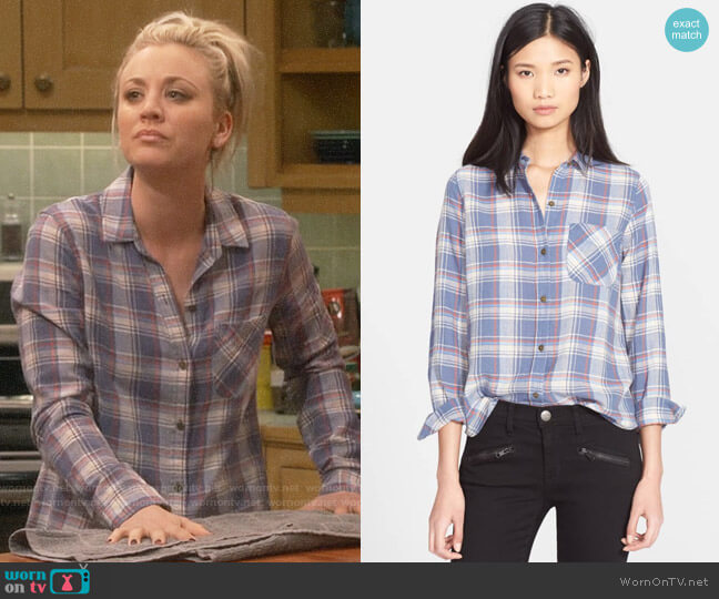 Current Elliott The Slim Boy Plaid Shirt worn by Penny Hofstadter (Kaley Cuoco) on The Big Bang Theory
