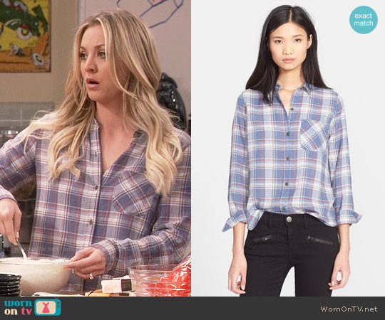 Current Elliott The Slim Boy Plaid Shirt worn by Kaley Cuoco on The Big Bang Theory