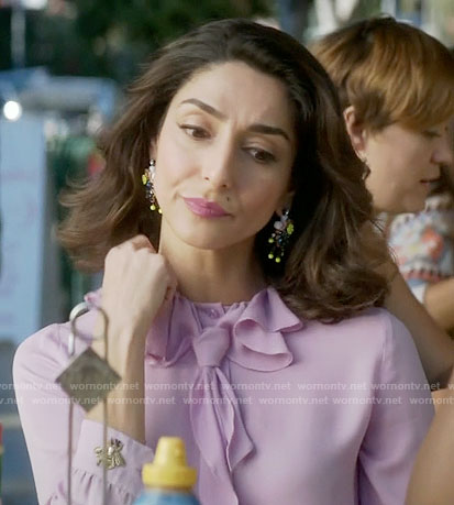 Delia's lilac ruffled neck blouse on Girlfriends Guide to Divorce