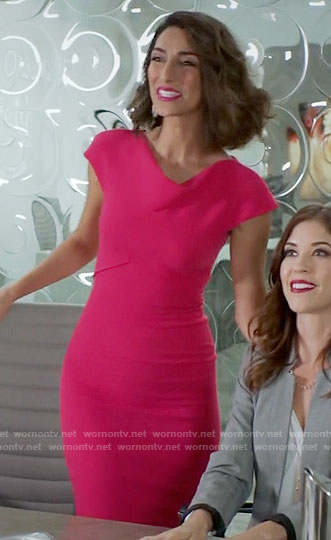 Delia's pink sheath dress on Girlfriends Guide to Divorce