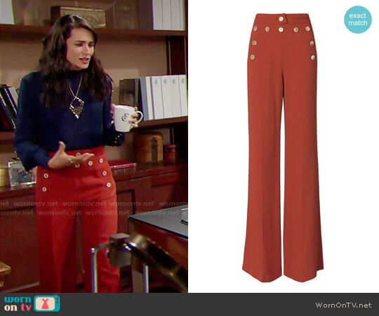 Derek Lam High-Waisted Button Detail Flare Pants worn by Quinn Fuller (Rena Sofer) on The Bold & the Beautiful