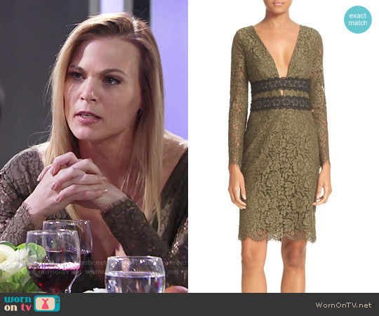 Diane von Furstenberg Viera Dress in Olive worn by Phyllis Newman (Gina Tognoni) on The Young & the Restless