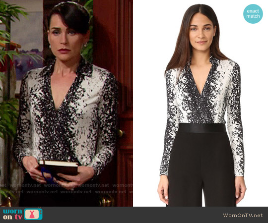 Diane von Furstenberg New Jeanne Bodysuit in Stella Black worn by Rena Sofer on The Bold & the Beautiful