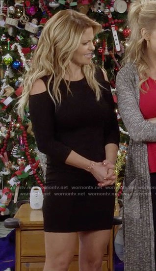 DJ's black cold-shoulder mini dress on Fuller House