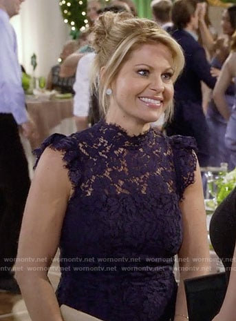 DJ's navy lace dress on Fuller House
