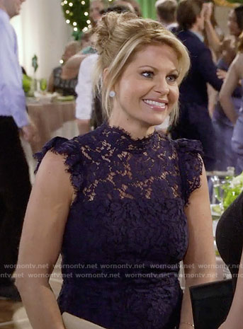 DJ's navy blue lace dress on Fuller House