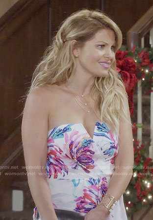 DJ's white floral strapless reunion dress on Fuller House