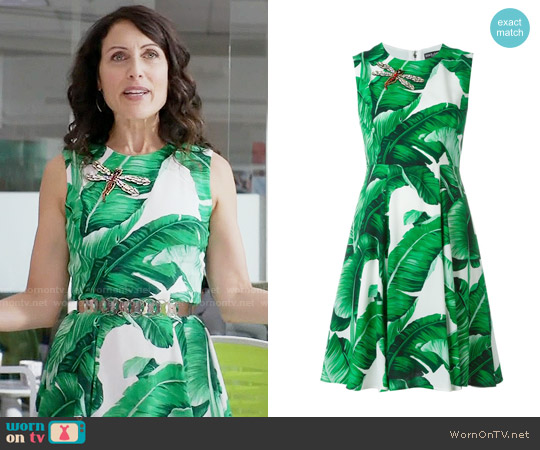 Dolce & Gabbana Banana Leaf Print Dress worn by Lisa Edelstein on GG2D