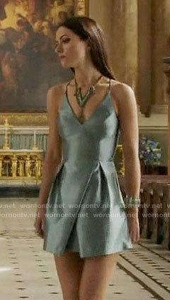 Princess Eleanor's blue v-neck dress on The Royals