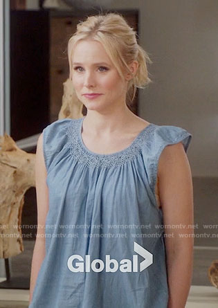 Eleanor's blue top with ruffle sleeves on The Good Place