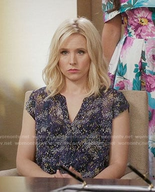 Eleanor's purple printed v-neck top on The Good Place