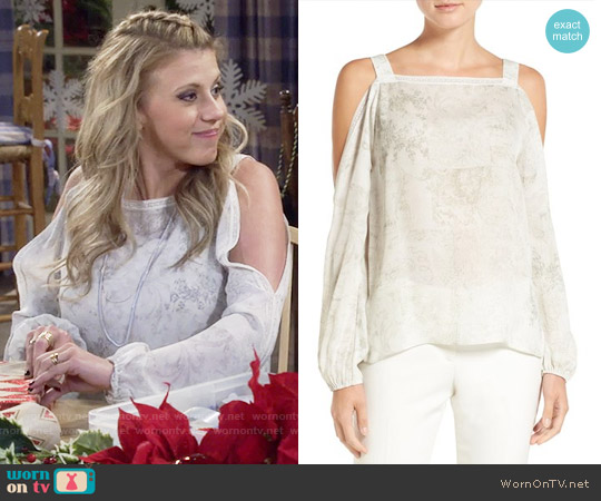 Elie Tahari Lindy Cold-Shoulder Silk Blouse worn by Jodie Sweetin on Fuller House