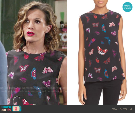 Equipment 'Kyle' Butterfly Print Silk Top worn by Melissa Claire Egan on The Young & the Restless