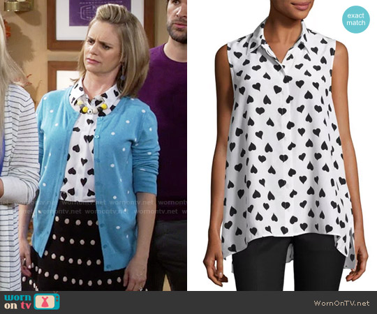 Equipment Milla Heart Print Shirt worn by Andrea Barber on Fuller House